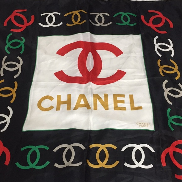 CHANEL Accessories - CHANEL Multi-colored Silk Scarf